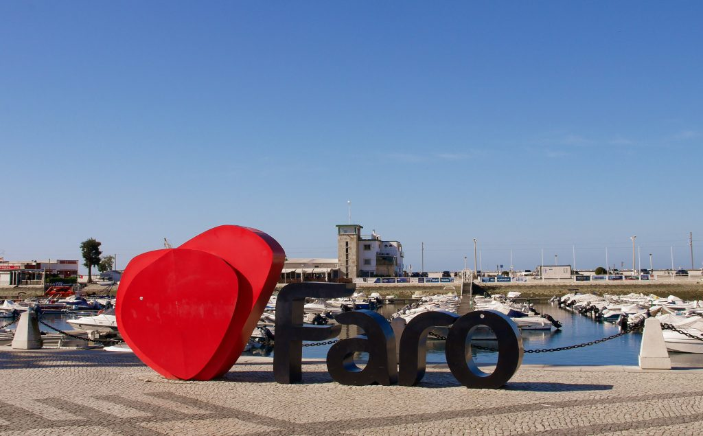 Faro, Portugal. Marina and Sign