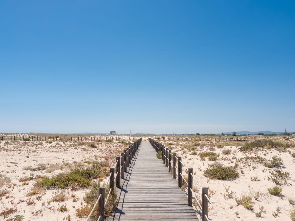 The beach boardwalk on Ilha da Armona